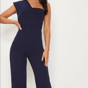 One Shoulder Navy Formal Jumpsuit